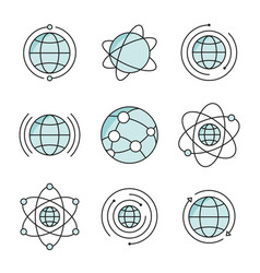 globe icons set social network global signs vector image