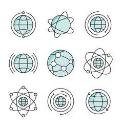 globe icons set social network global signs vector image