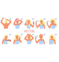 Hair styling steps flat vector