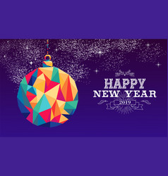 happy new year 2019 bauble triangle hipster color vector image