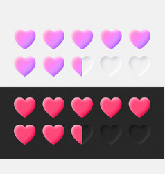 hearts rating icons set 3d neumorphic light vector image