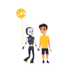 Human boy and robot walking together as friends vector