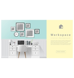 Interior design Modern workspace background 6 vector image