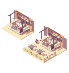 isometric food court coffee kiosk vector image
