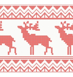 Knitted Deer Seamless Pattern in Red Color vector image
