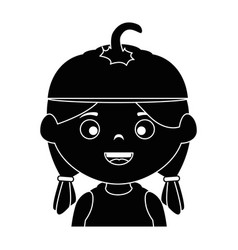 little girl disguised as a pumpkin vector image