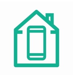 Logo combination of a house and phone vector
