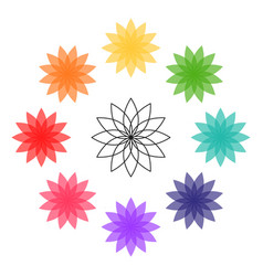 lotus flower colorful icon chakra colors vector image