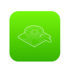 magnifying glass over map icon green vector image