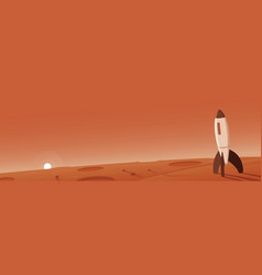 Mars landscape with rocket scene vector