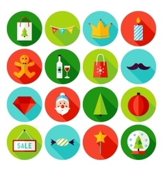Merry Christmas Flat Icons vector