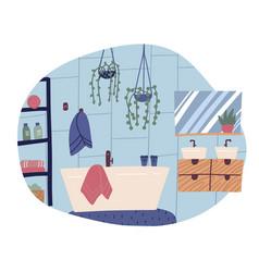 modern clean bathroom interior blue tiles wall vector image