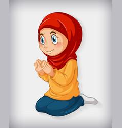 Muslim girl practice religion vector