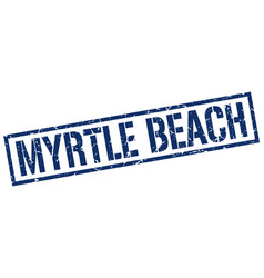 Myrtle beach blue square stamp vector