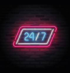 Neon sign - 24-7 open - with a slanted frame vector