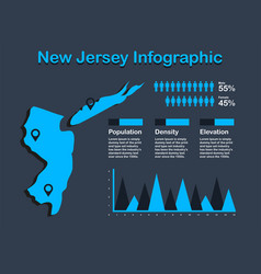 new jersey state usa map with set of infographic vector image