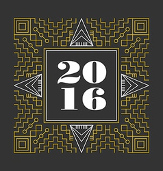 New Year 2016 retro hispter line monogram vector