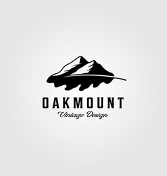 oak leaf mountain logo vintage design vector image
