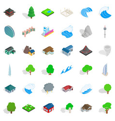 ocean icons set isometric style vector image