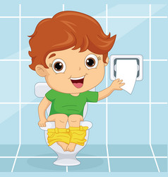 Of a kid at toilet vector