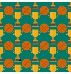Orange basketball ball and gold cup seamless vector