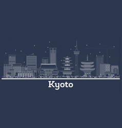 Outline kyoto japan city skyline with white vector