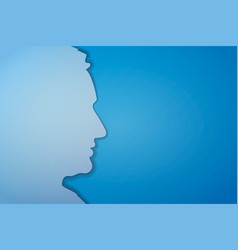 Papercut mans face silhouette on blue background vector