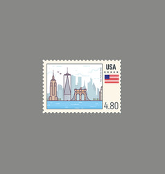 postage stamp new york vector image