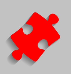 puzzle piece sign red icon with soft vector image