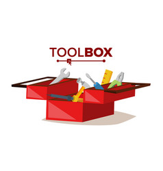 Red classic toolbox full of equipment vector