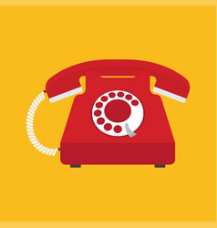 red old phone flat icon vector image