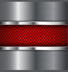 red perforated background with shiny stainless vector image