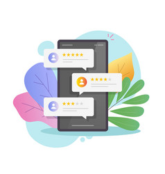 Reviews rating online bubbles on mobile phone or vector