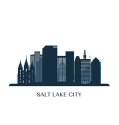 Salt lake city skyline monochrome silhouette vector