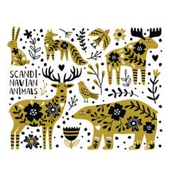 scandinavian wild animals vector image