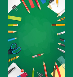 School chalkboard with different objects vertical vector