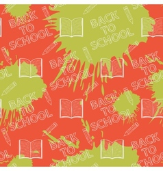 School seamless pattern on orange and green blots vector image