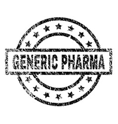 Scratched textured generic pharma stamp seal vector