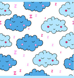 Seamless pattern with cartoon sleeping clouds vector