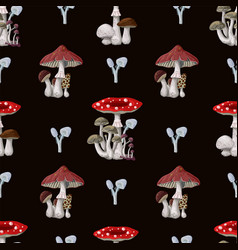 seamless pattern with different mushrooms vector image