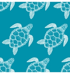 Seamless pattern with sea turtle in line art style vector