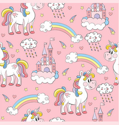 seamless pattern with unicorns and elements pink vector image