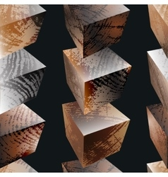 Seamless pattern with wooden cubes vector image