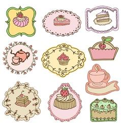 set cute cake tags vector image