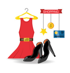 Set icon dress credit card and heel shopping vector
