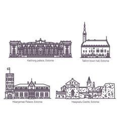 set isolated estonia or estonian old buildings vector image