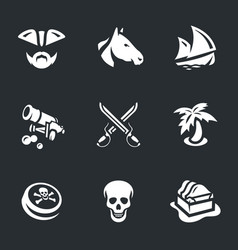 Set of piracy icons vector