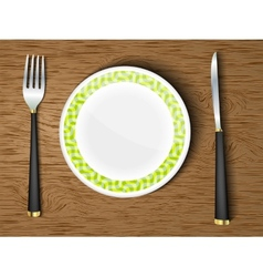 set white dishes on a wooden vector image