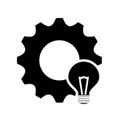 Single gear and lightbulb icon vector