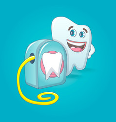 Smiling tooth with floss box concept background vector